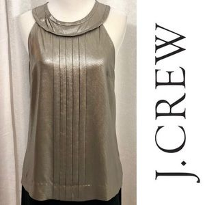 J. CREW 100% Silk Silver Metallic Sleeveless Top